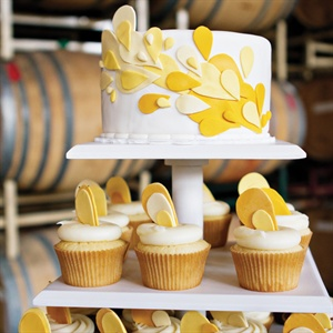 Yellow Abstract Cake and Cupcakes