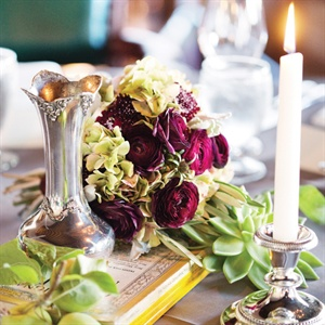 Ranunculus and Succulent Centerpieces