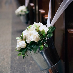 White Roses in Silver Pail Pew Decoration