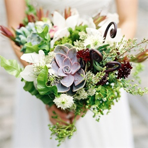 Succulent and Leafy Bridal Bouquet