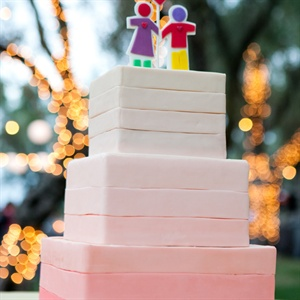 Coral Ombre Wedding Cake