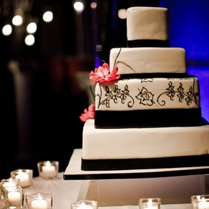 Black and White Four Tier Square Cake