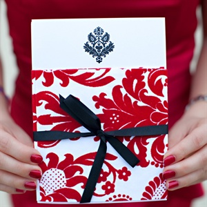 Red and White Damask Invitations
