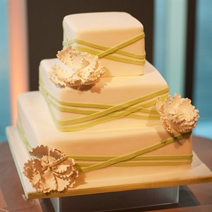 Green Criss Cross Ribbon Cake