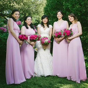 Pink Floor Length Bridesmaids' Dresses