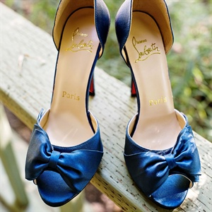 Blue Christian Louboutin Bridal Shoes