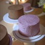 Small Purple and Brown Wedding Cakes