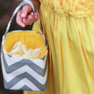 Gray and Yellow Flower Girl Basket