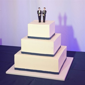 White and Navy Wedding Cake