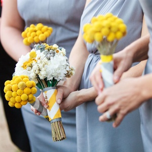 Yellow Craspedia Bridesmaid Bouquets