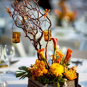 Rustic Orchid and Twig Centerpieces
