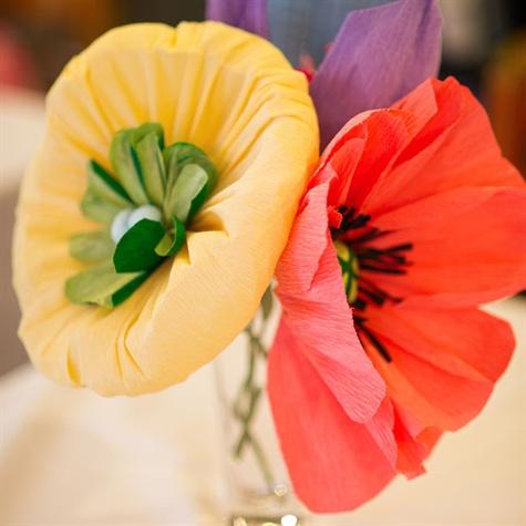 Crepe Paper Flower Centerpieces