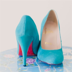 Light Blue Christian Louboutin Bridal Shoes