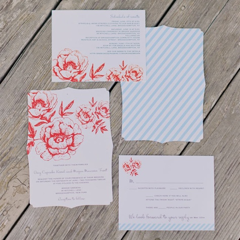 Vintage Style Striped Invitations