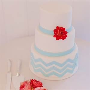 Aqua and White Chevron Wedding Cake