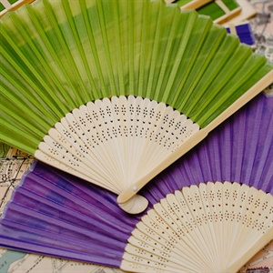 Purple and Lime Green Paper Fans
