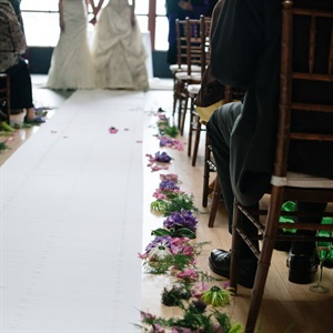 Flower Lined Wedding Aisle