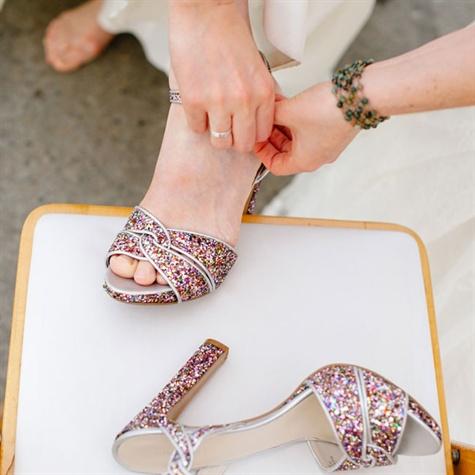 nine west multicolored glitter heels