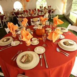 Red and Orange Reception Table