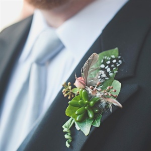 Succulent and Feather Boutonniere