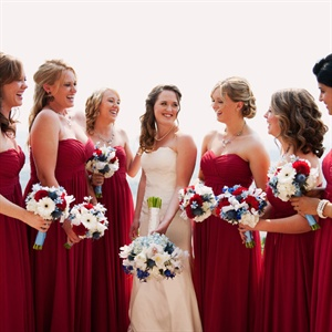 Red Strapless Bridesmaids' Dresses