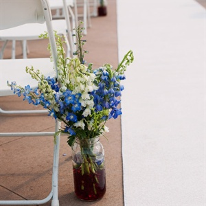 Blue and White Mason Jar Aisle Decor
