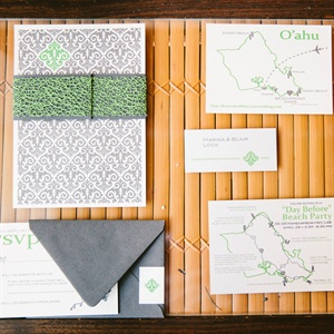 Green and Gray Damask Stationery