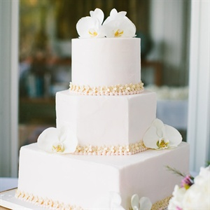 Three Tier White Floral Cake