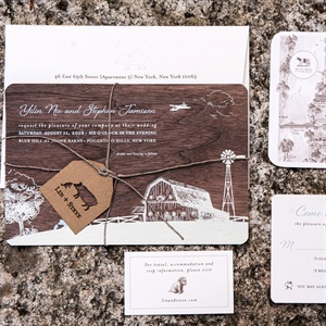 Rustic Wood Paper Wedding Invitation Suite