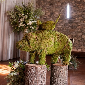 Rustic Moss and Wood Reception Decor