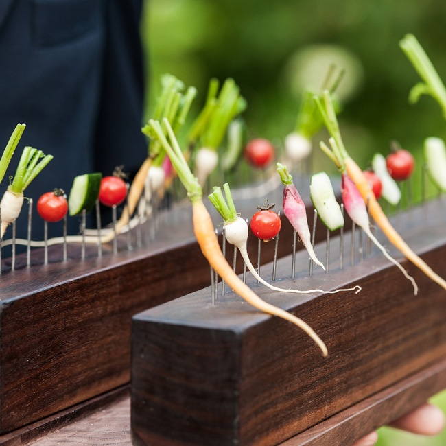 Menus at Blue Hill are decided on the day of the wedding; the chef selects the freshest in-season ingredients and serves them in unique, delicious ways--like these petite veggies grown right on the farm.