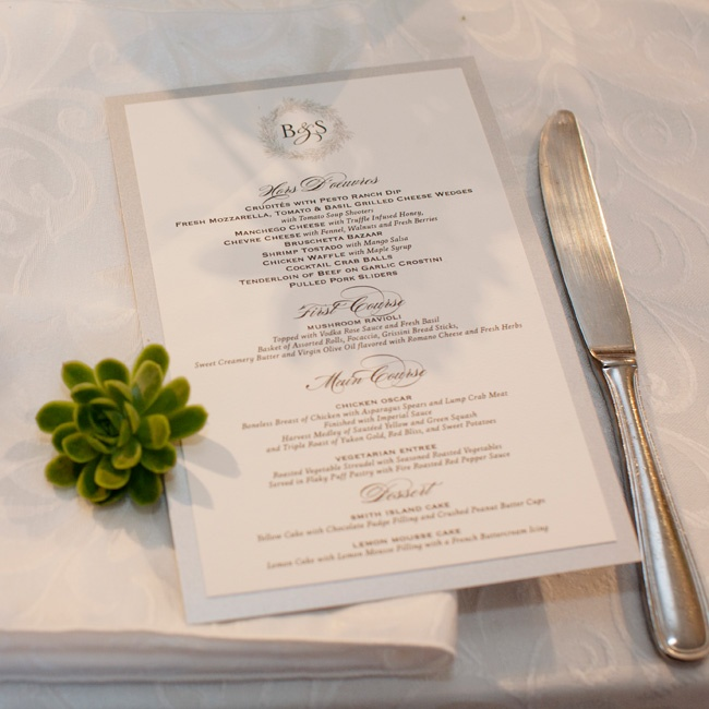 The traditional black-and-white menus featured the couple's custom monogram and were mounted on metallic silver stock.