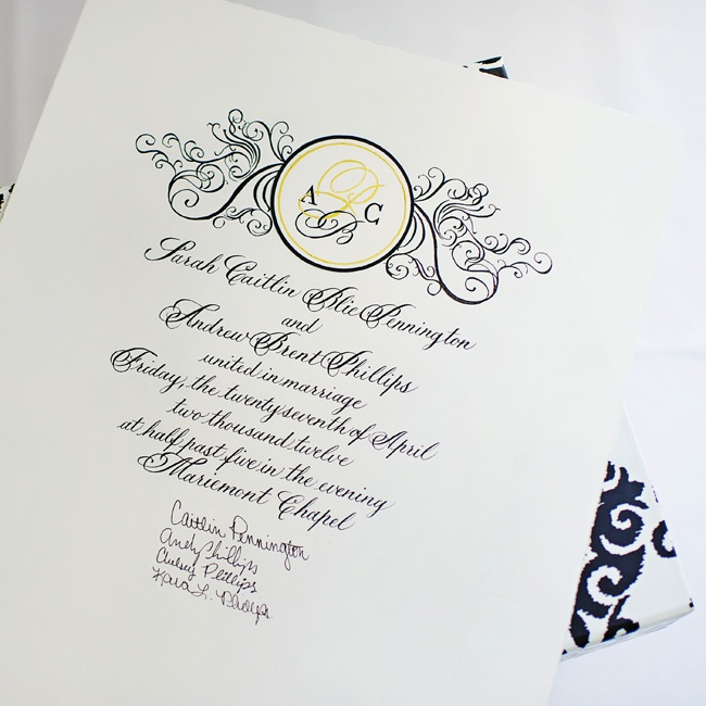 """Because Caitlin and Andy share the same middle and last initials (P and B), they have always referred to themselves as """"ACPB."""" A monogram was the perfect way to include this charming nickname in their stationery suite."""
