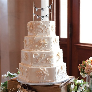 Dress-Inspired Hexagonal Wedding Cake