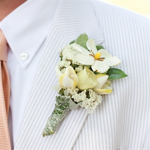 Gardenia and Wax Flower Boutonniere