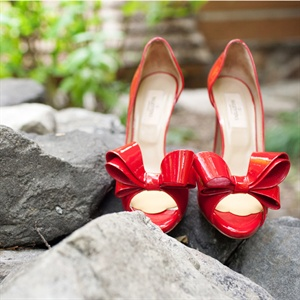 Valentino Red Bow Bridal Shoes