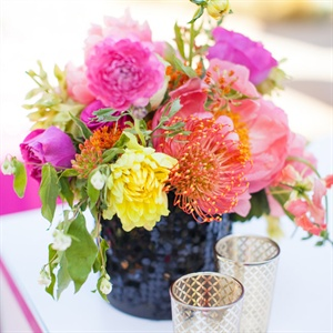 Bright Protea and Mum Centerpiece