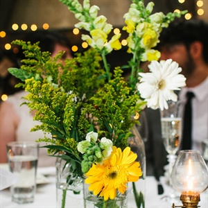 White and Yellow Gerbera Daisy Centerpiece