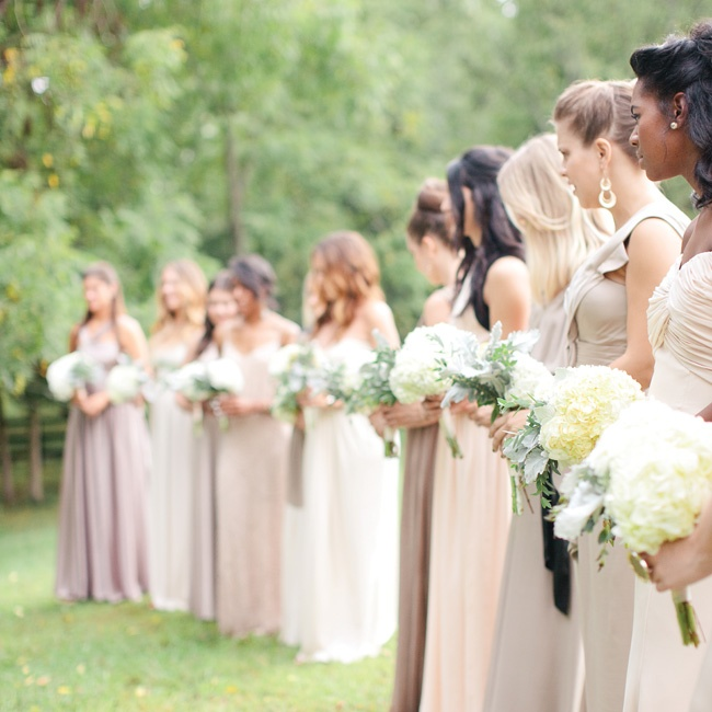 Elizabeth only had two dress requests for her 12 bridesmaids: