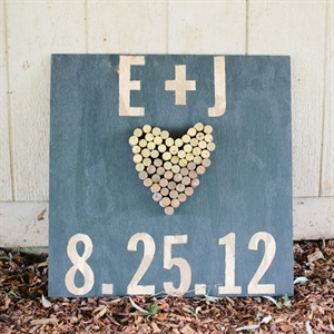 Wood and Wine Cork Wedding Sign