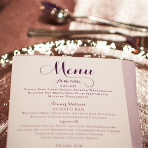 Purple and White Menu Card