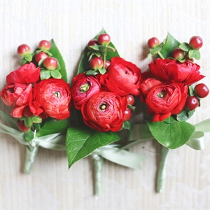 Red Ranunculus Boutonnieres with Berries
