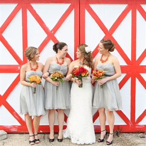 Short Gray Bridesmaid Dresses
