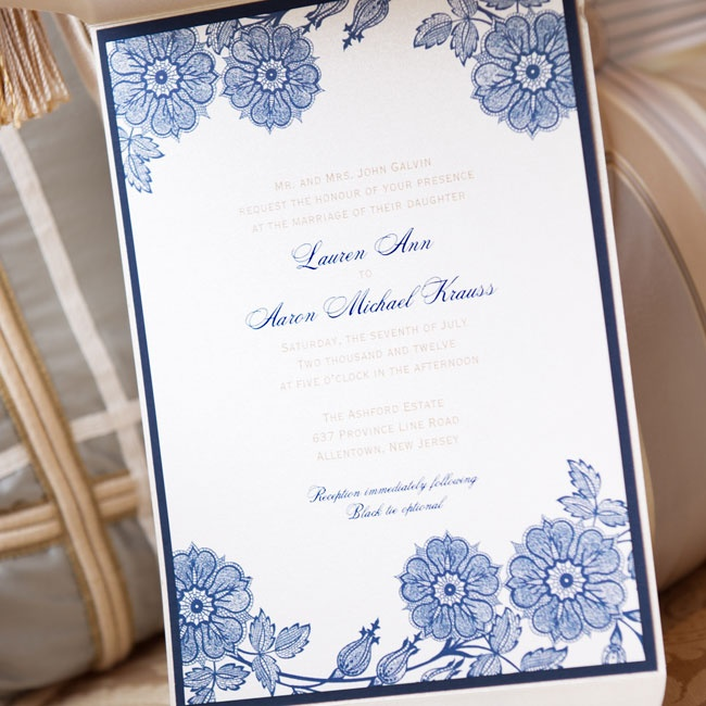 "An exterior pocket held together the five separate printed pieces that came along with the invitation. ""They required a lot of assembly,"" according to Lauren. ""I thought of the invitation as a preview of things to come. It was very important to me that it reflected the style of the wedding."""