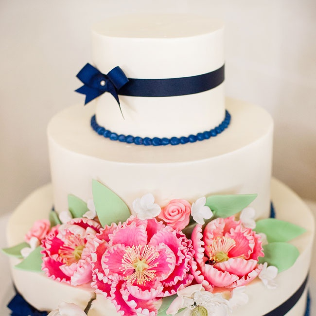 The navy, pink and metallic theme was carried throughout the ceremony and reception décor.