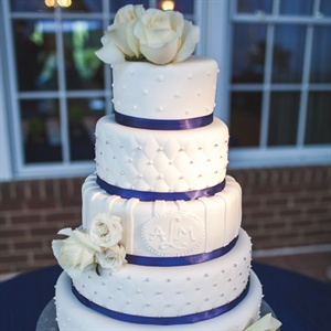 Navy Blue and White Wedding Cake