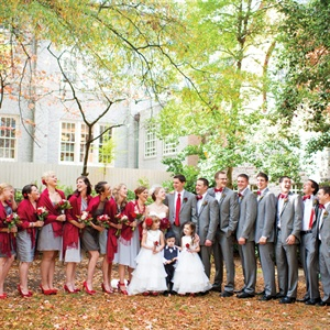 Red and Gray Bridal Party Attire