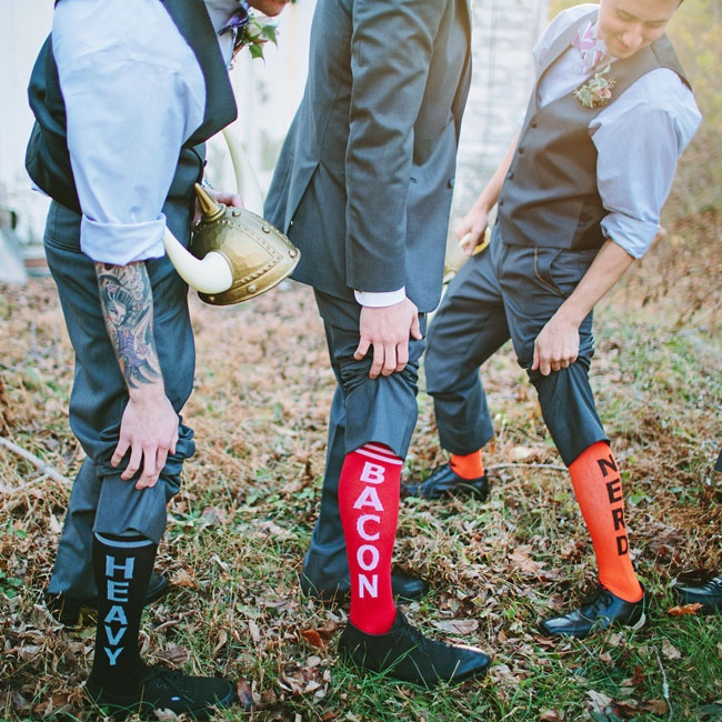 The groomsmen wore the same suit as Shaun minus the jacket. Colorful tube socks, with funny words and phrases written down the side, completed the look.