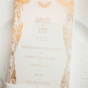 Intricate Gold Menu Card