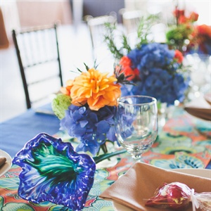 Bright Blue Floral Centerpieces